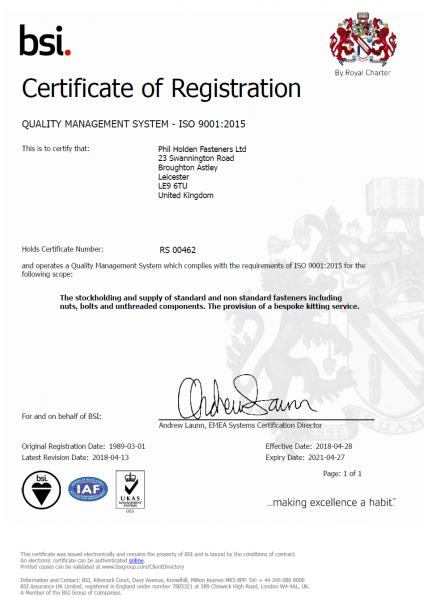 Bsi Certificate 2018-2021